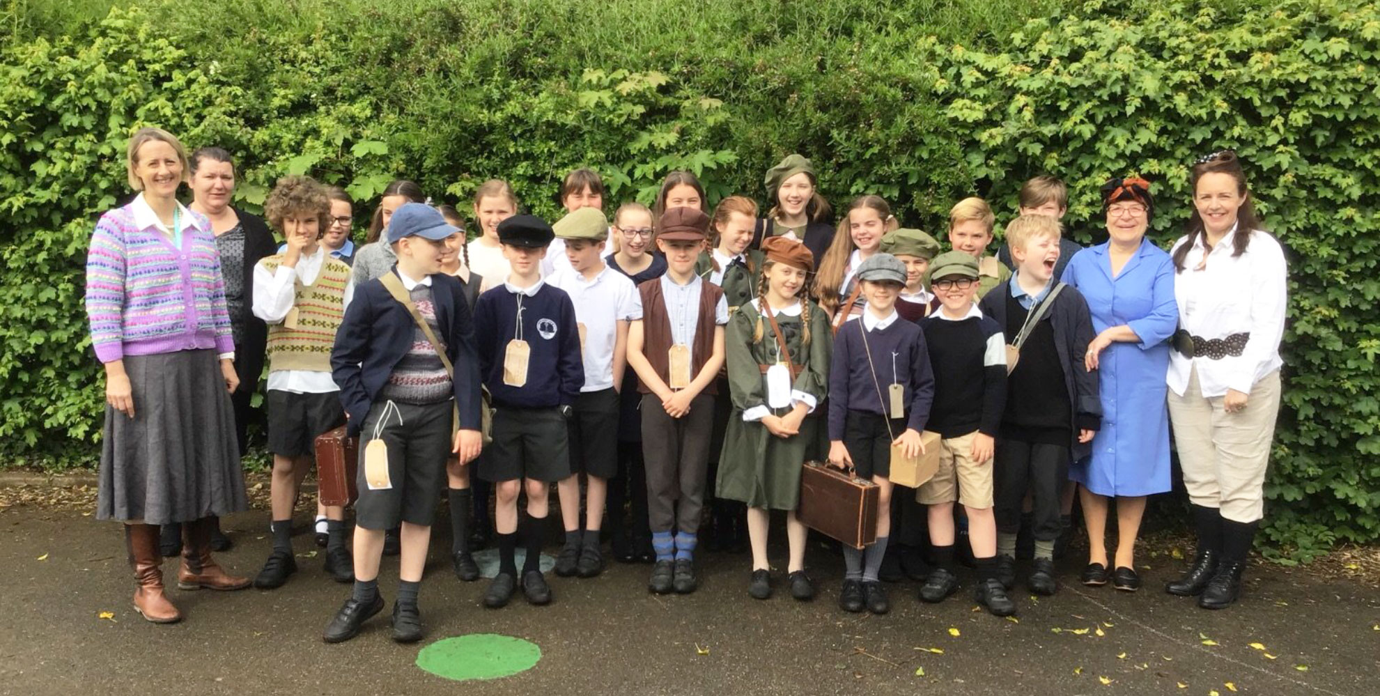 class in WW2 costumes