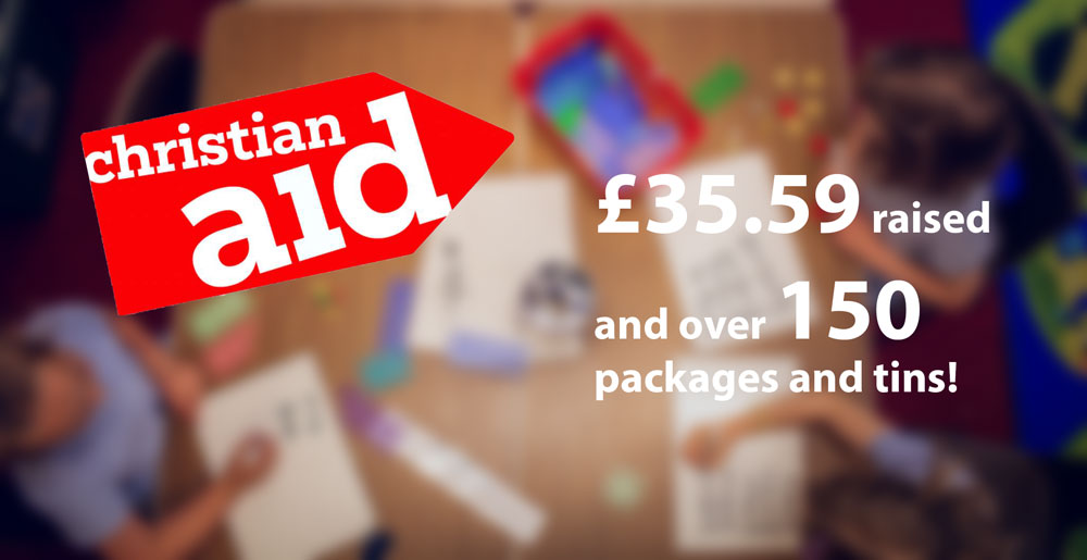 Christian Aid donation of £35.59 and 150 packages
